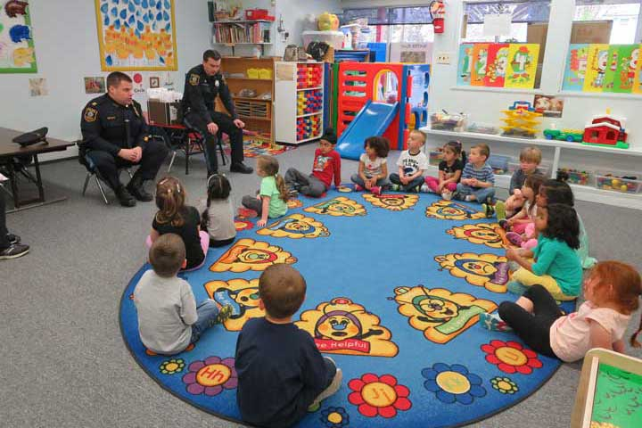 The children listening to the officers talking