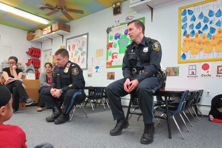 Captain John Wieners III and Officer Brian Conover at Carousel of Learning